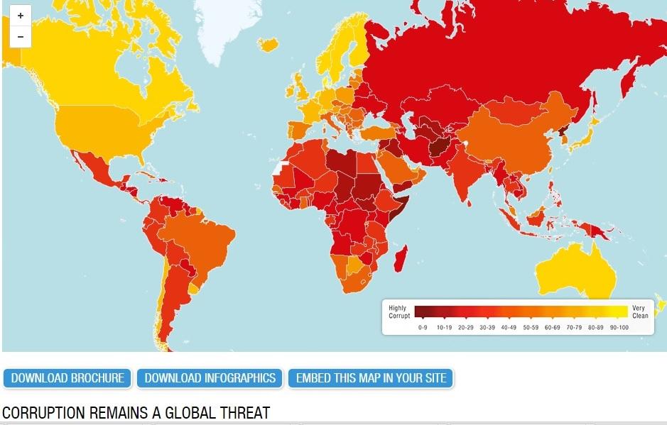 Na próxima quarta-feira dia 3 dezembro sairá o índice mundial da corrupção.
